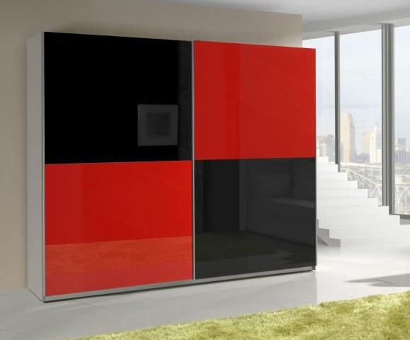 Presta RED 2 - red and black wardrobe
