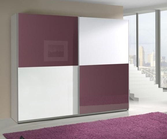 Presta violet 2 - violet and white clothing armoire