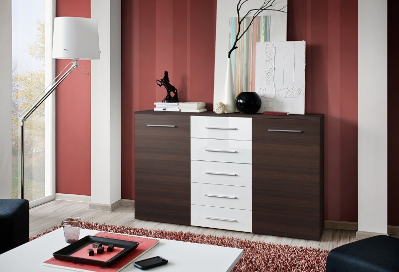 SB FOX 2 - Wenge and white chest of drawers