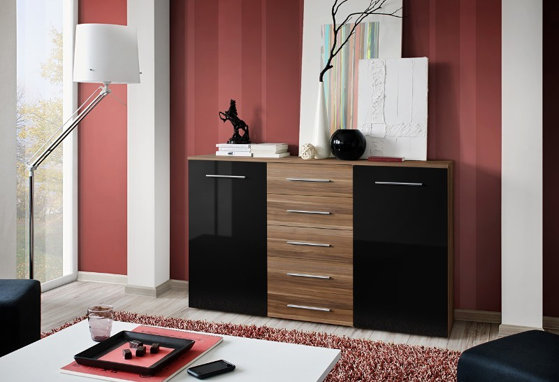 SB FOX 3 - Plum and black 5 drawer dresser