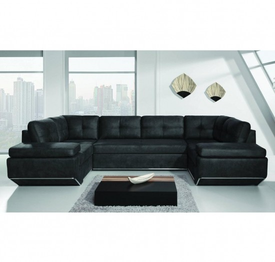 Enfield I - Black faux leather corner sofa