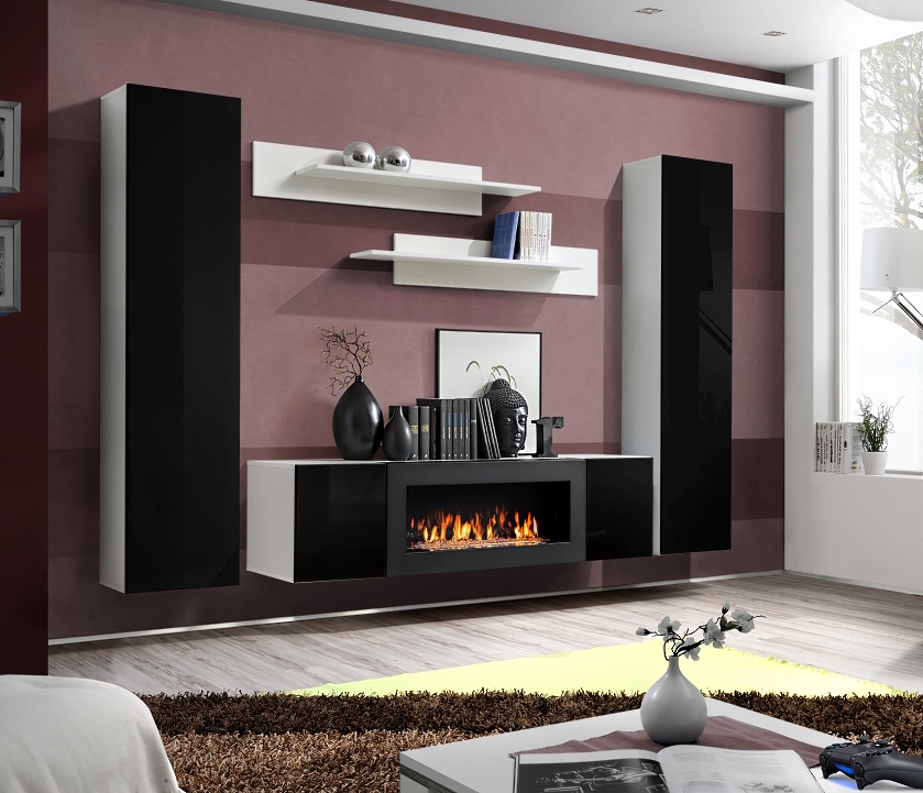 Idea M1 - living room entertainment center with bio fireplace