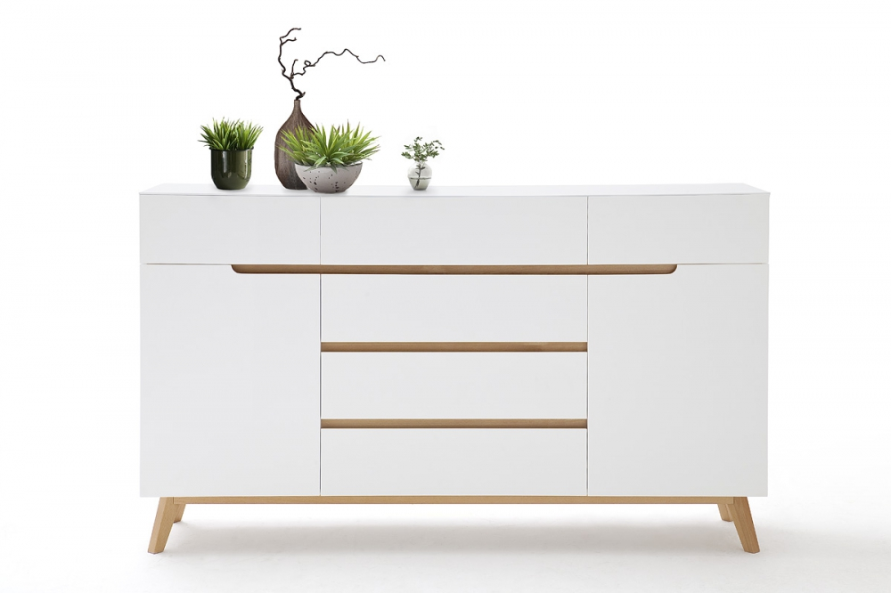 CERVO  sideboard typ44– six drawers and two compartments - white high gloss lacquered matte finish – oak veneer wood – European made