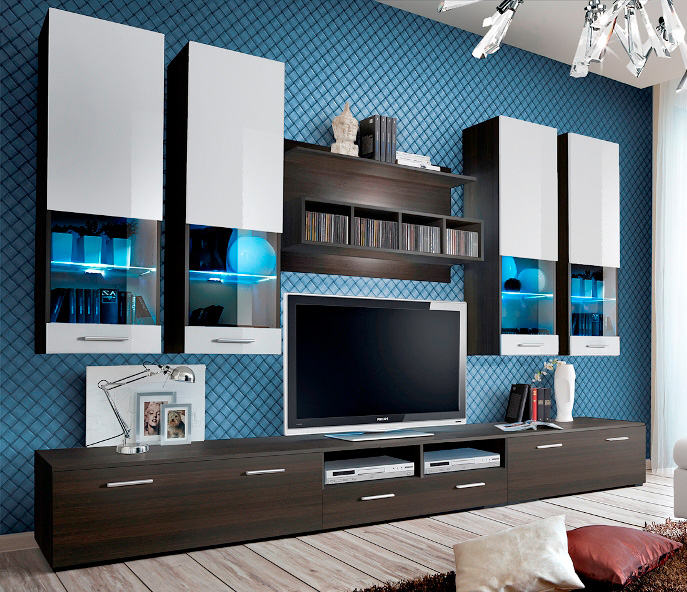 Montreal 4 - wenge matt and white gloss wall unit