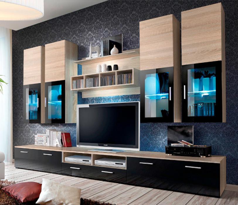 Presto 3 - oak sonoma matt and black gloss tv wall unit
