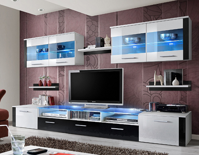 Zoom 1- black and white living room wall unit