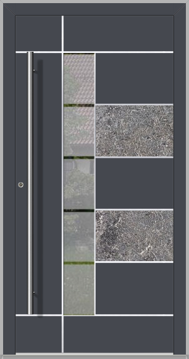 LIM Baner-s -  aluminium front door with natural stone