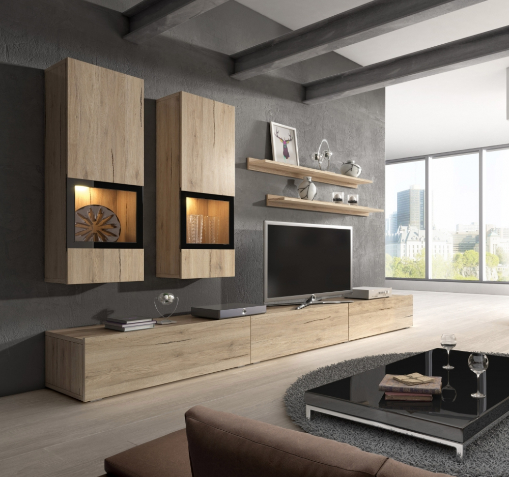 Wall unit Baros 3 oak - modern entertainment center