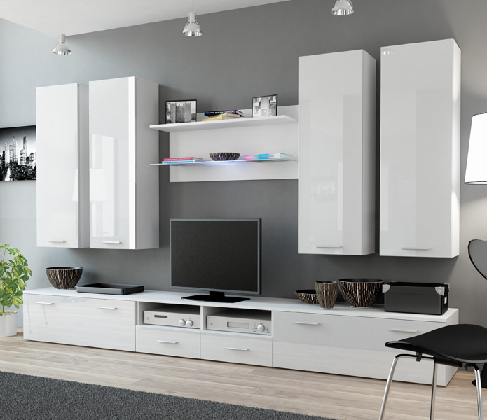 Indigo 1 - white modern entertainment center