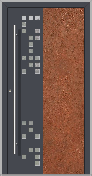 LIM DigitalC  - Aluminium front door with corroded corten steel