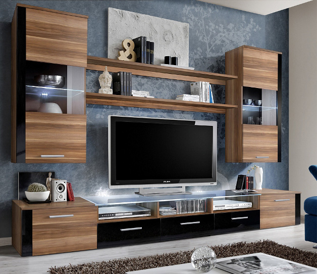 Lumia 3 - walnut matt and black gloss wall unit