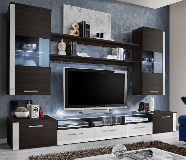 Lumia 1 - wenge matt and white gloss wall unit