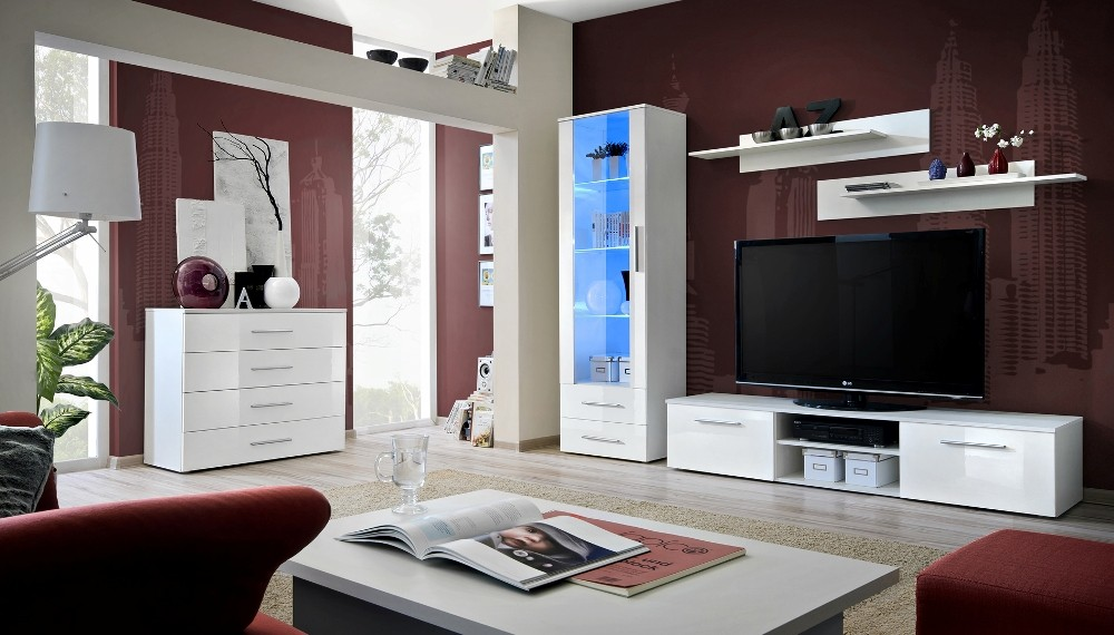 Santi 2 - White modern tv wall unit