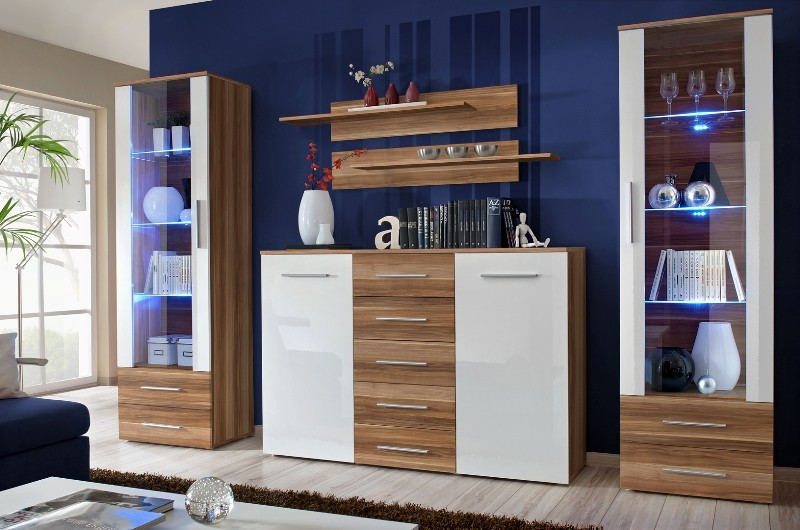 Monaco 10 - walnut and white wall unit