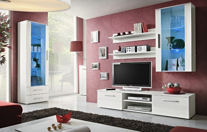 Bellis 2 - white high gloss fronts wall unit