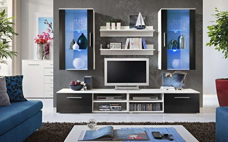 Oregon 3 - black and white living room wall unit