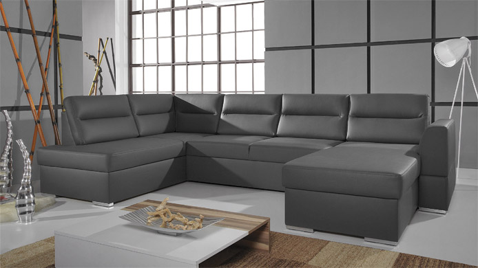 FLOO I - Faux leather corner sofa for sale