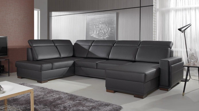 SALVO I - Black Corner Sofa Bed