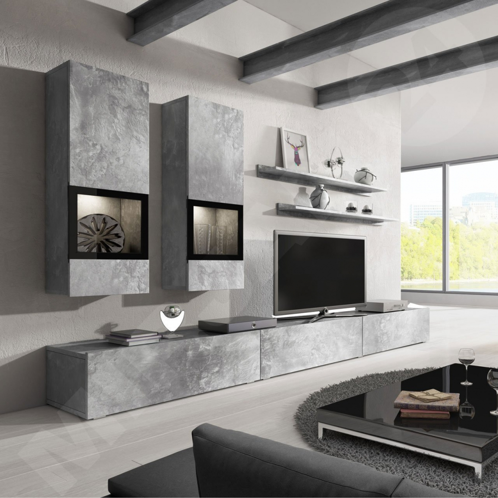 Wall unit Baros 2 Grey - affordable entertainment center