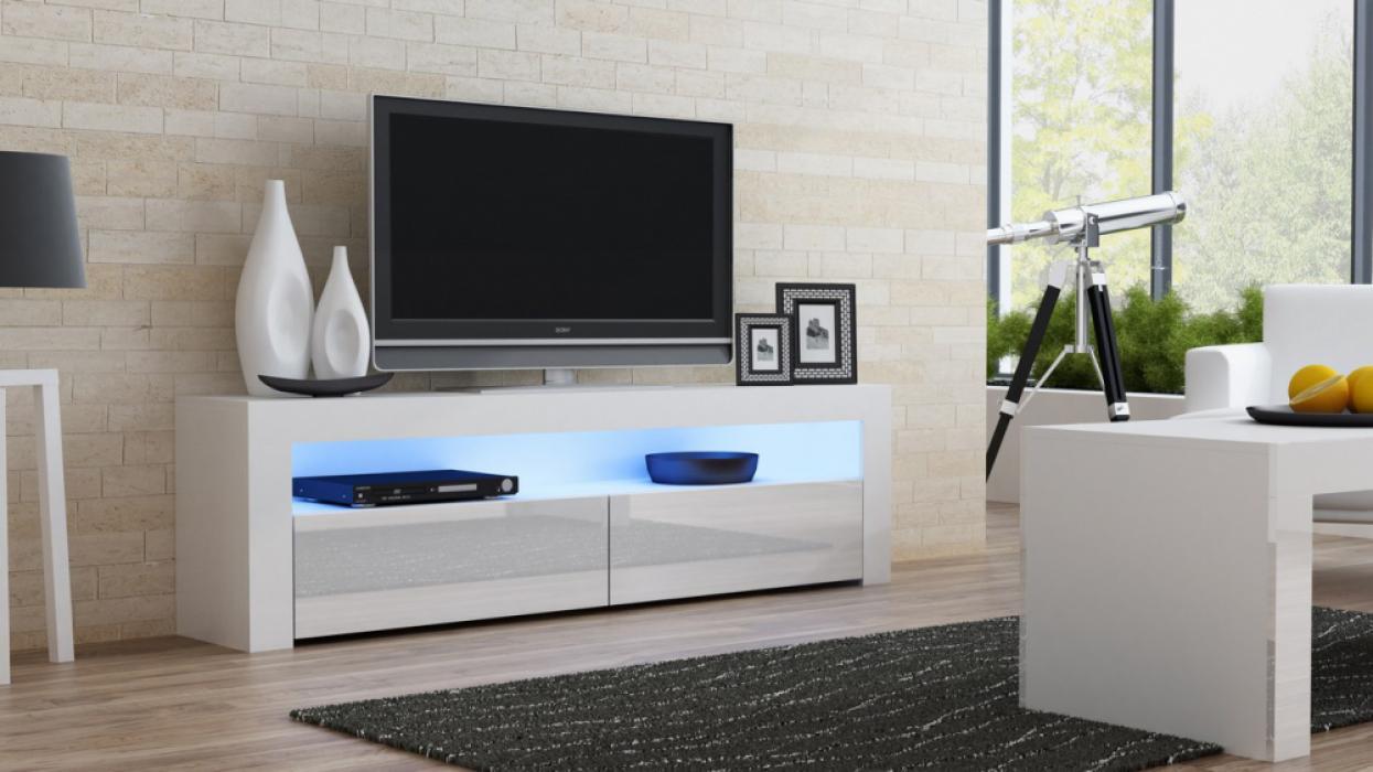 Milano 157 Classic -  White gloss TV stand