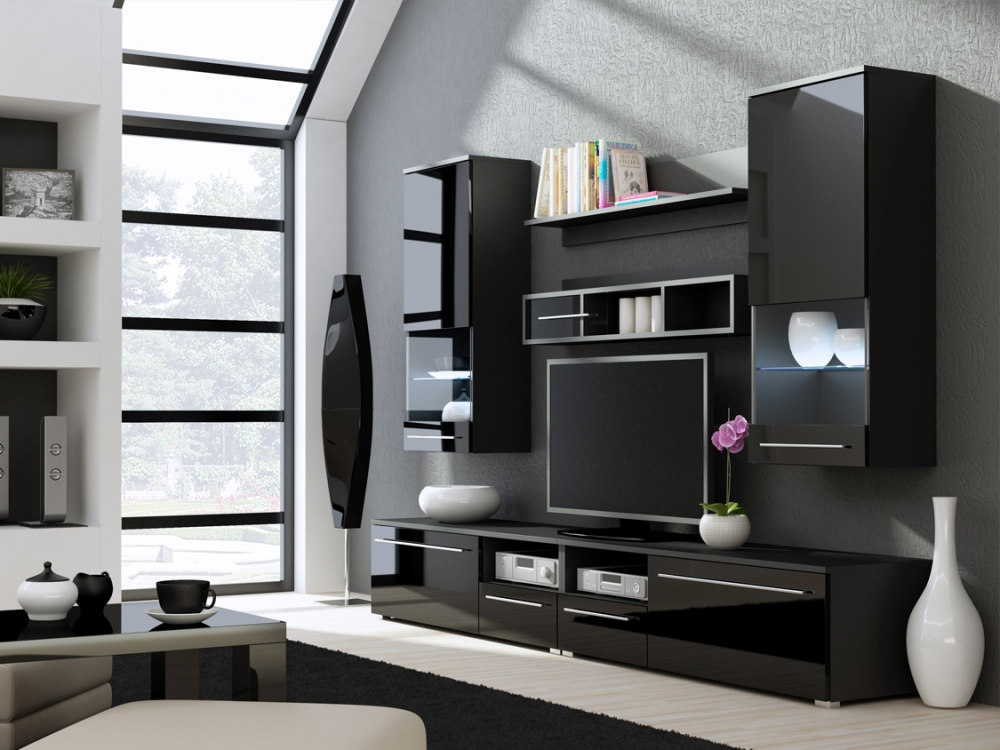 Kansas 3 - High gloss black TV Wall Unit