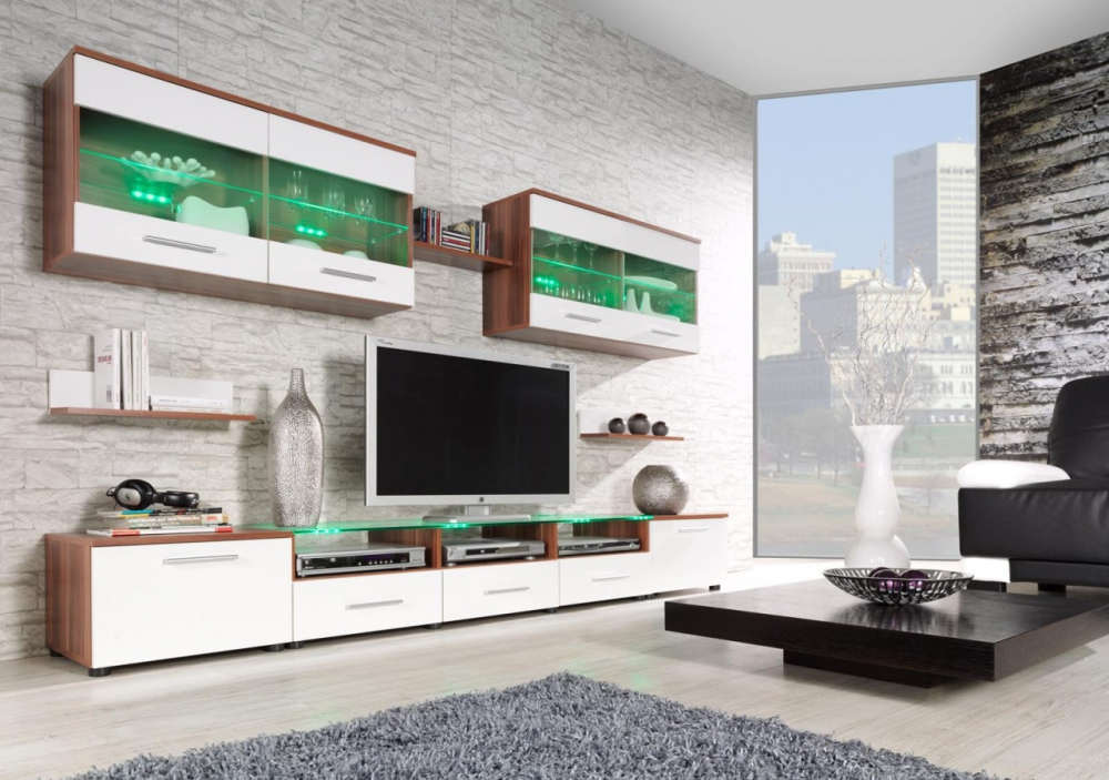 Austin 2-  plum and white contemporary wall unit