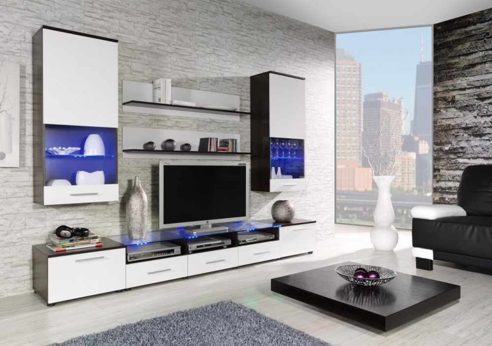 Chicago 2 - white and wenge contemporary wall unit