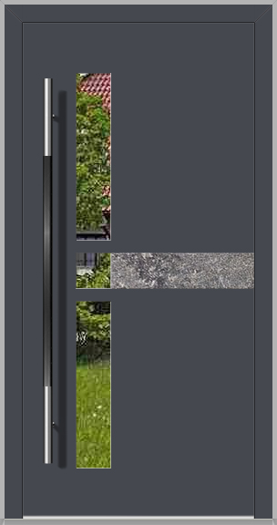 LIM Chip-BS - aluminium front door with natural stone