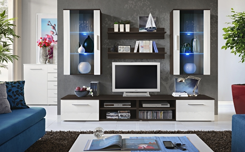 Oregon 5 - White and black modern tv wall unit