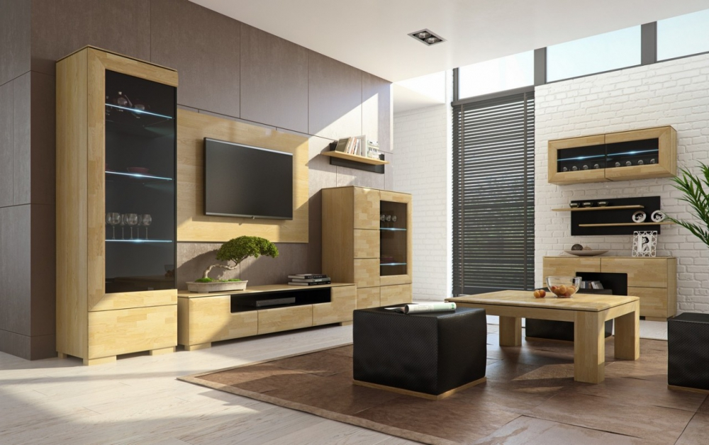 Rosso 1 - solid wood oak entertainment center
