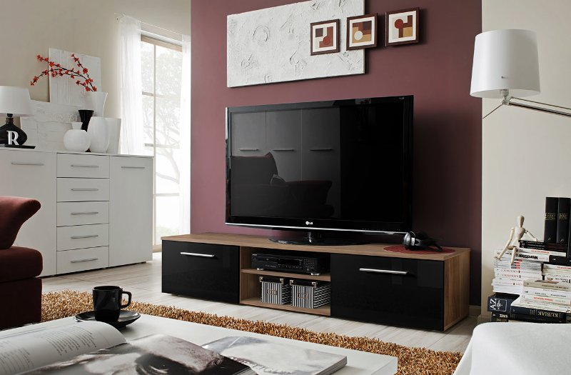 Soto 4 - Plum body, black high gloss fronts tv stand