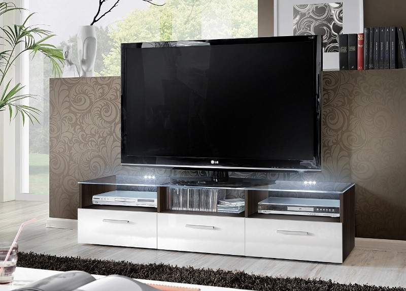Lyon 2 -  gloss white fronts tv stand cabinet