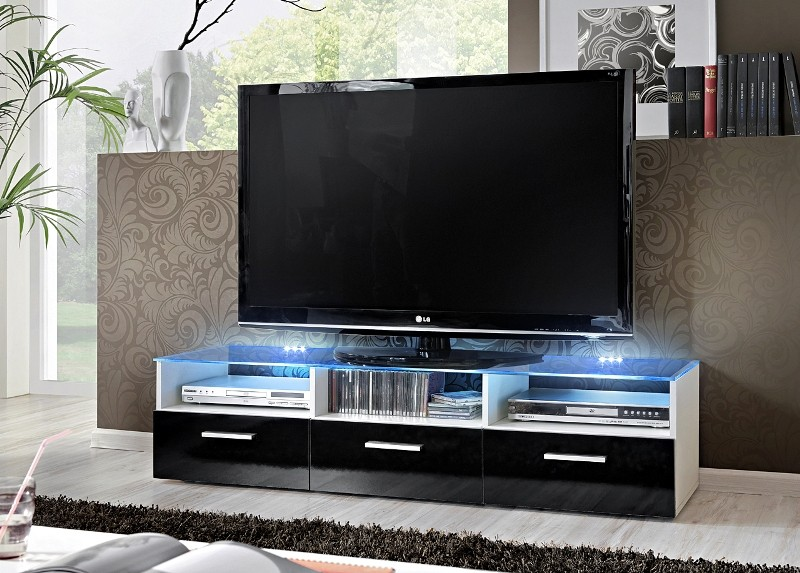 Lyon 1 Gloss black fronts Modern TV Stand