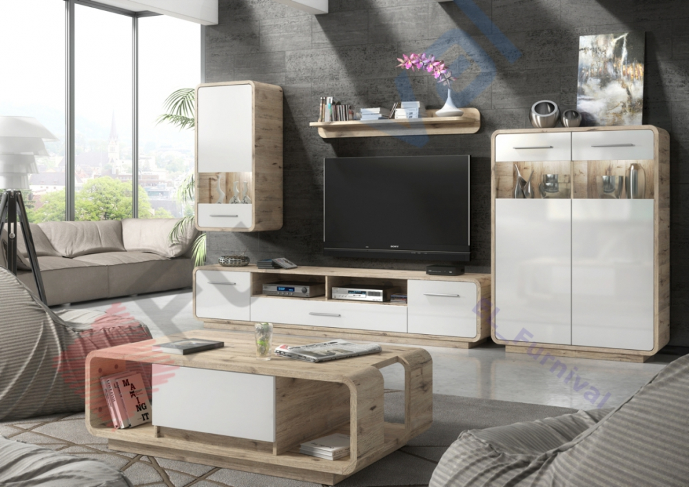 Skanso - oak wellington living room wall unit