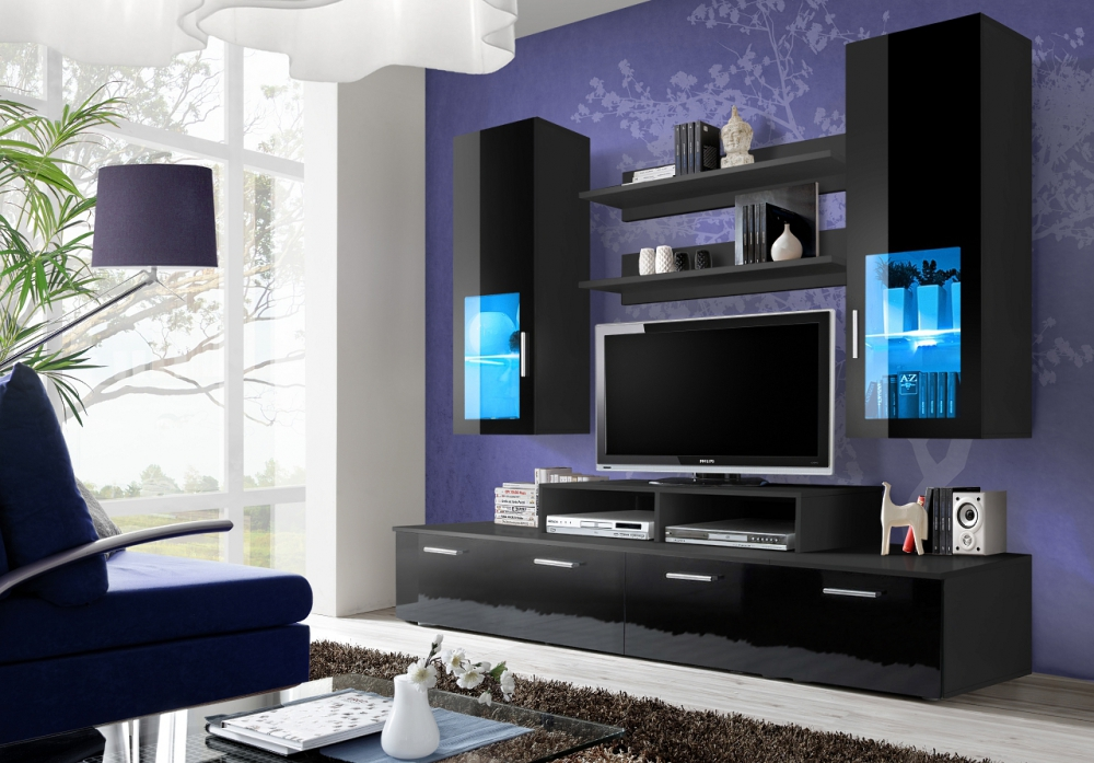 Toledo 3 - black high gloss wall unit