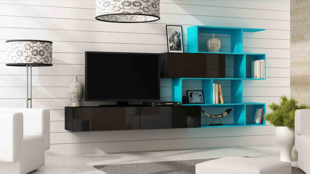 Vero style 6 - black and blue entertainment center