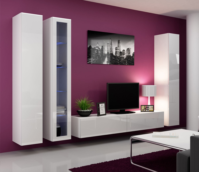 Seattle 3 - Gloss white entertainment center