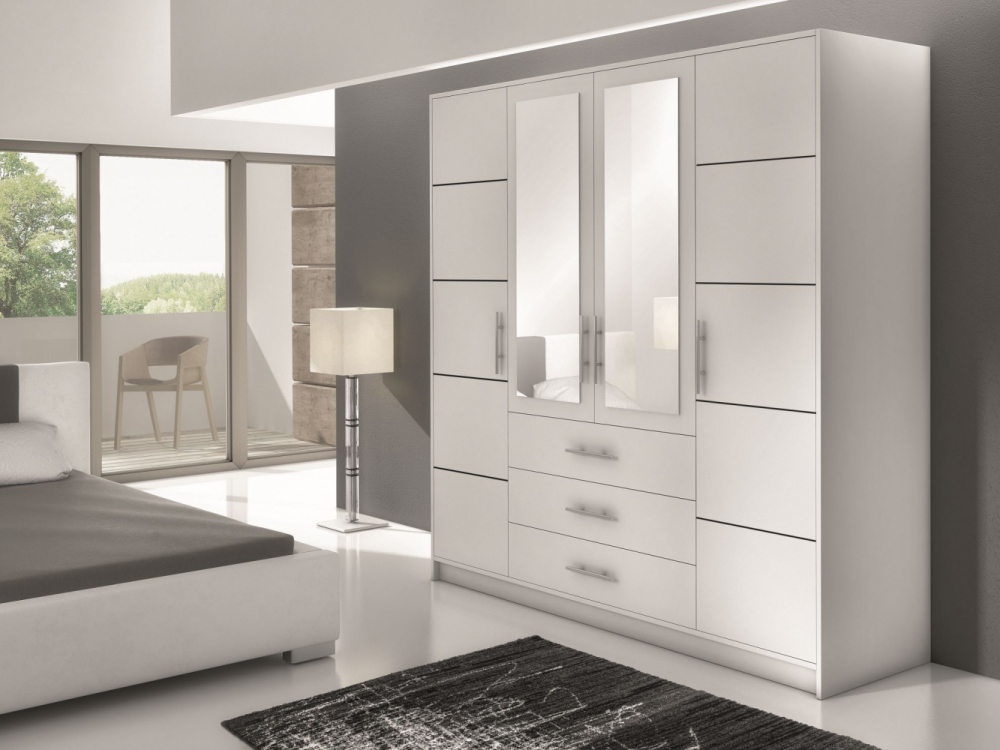 Bolton D4 - white or oak wardrobe with drawers