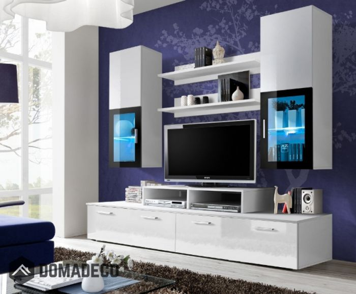 Toledo 1   White High Gloss Wall Unit ...