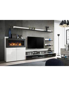 Cedar - entertainment wall unit with fire place