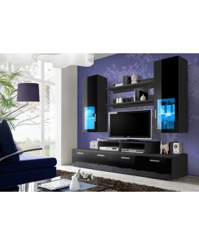 Toledo 3   Black High Gloss Wall Unit ...