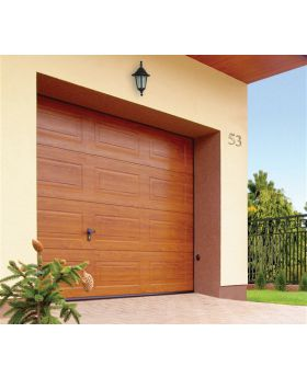 WIS 9 -  Golden oak garage door made of caisson panels