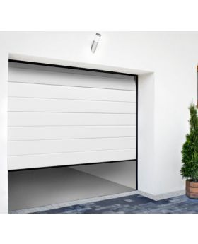 WIS 2 -  White garage door made of panels with high ribs