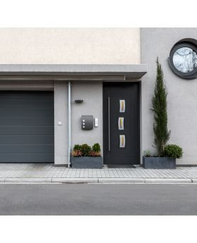 Fargo 16 - stainless steel front door Colour:  smooth anthracite; Glass type: sand