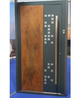 LIM DigitalC  - Aluminium front door with corroded corten steel