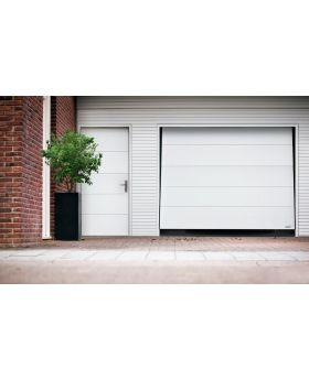 WIS 1 -  White garage door made of panels with no ribs