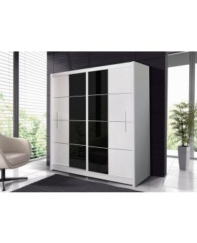 Pedro 203 - white and black sliding door wardrobe
