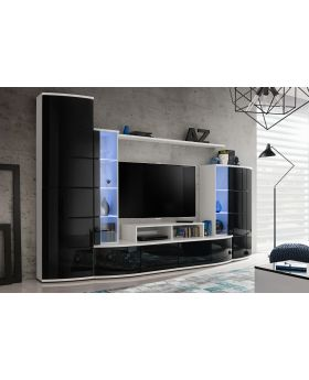 Laredo - black & white modern entertainment center